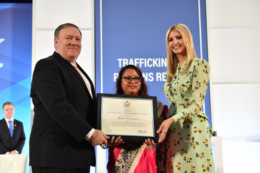 Mike Pompeo Ivanka Trump Shakti Samhua Trafficking Award